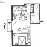 Ferienwohnung Borkum Wohnungsschnitt | Ferienwohnungen Büsum Haus Sonnenschein