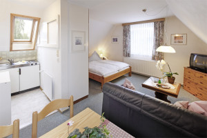 Ferienwohnung Hooge - Kombinierter Wohn-Ess-Schlafraum | Ferienwohnungen Büsum Haus Sonnenschein